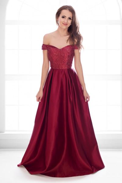 Bordové spoločenské šaty Auréline