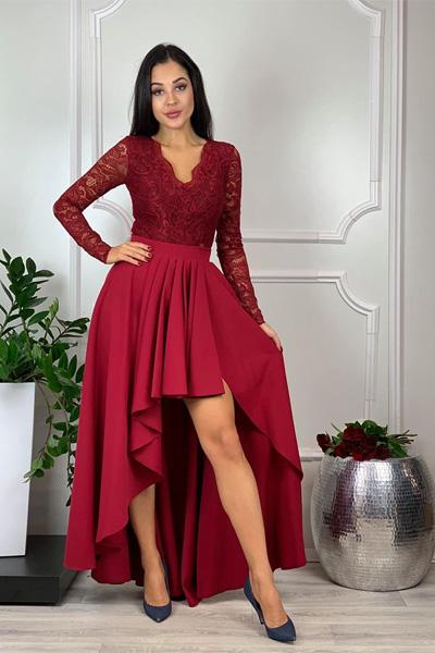 Bordové spoločenské šaty Loren
