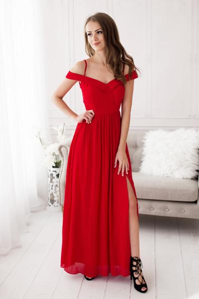 Červené spoločenské šaty Alicia