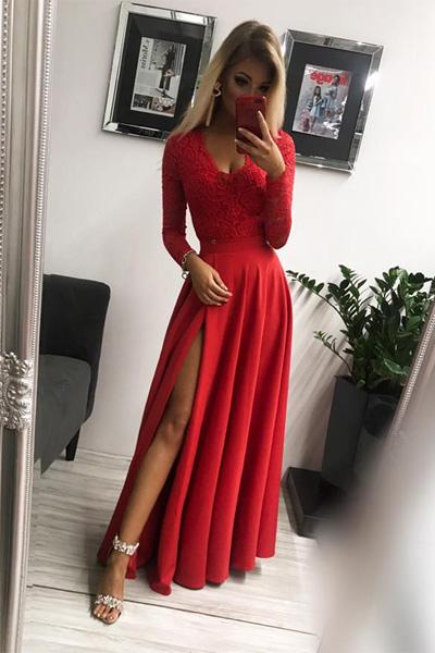 Červené dlhé spoločenské šaty Margaret