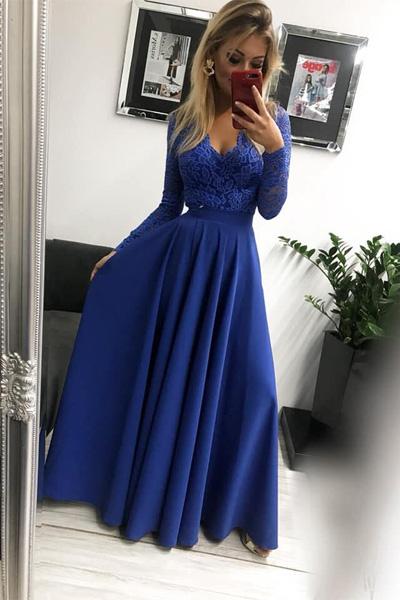743df6c1a725 Modré dlhé spoločenské šaty Margaret - krásna čipka - annie.sk