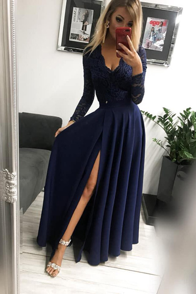 Tmavomodré dlhé spoločenské šaty Margaret