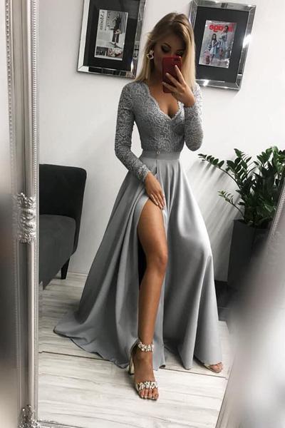 Sivé dlhé spoločenské šaty Margaret