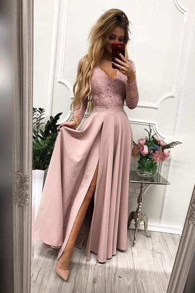 Ružové dlhé spoločenské šaty Margaret