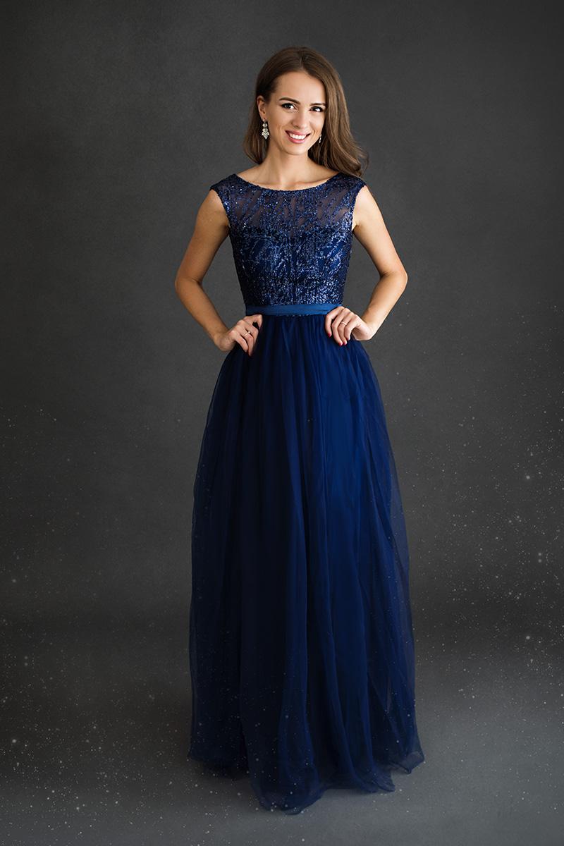 Modré spoločenské šaty Ciara