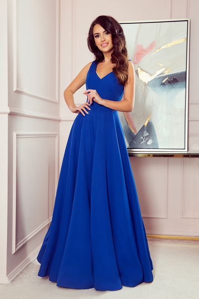Modré dlhé spoločenské šaty Cindy