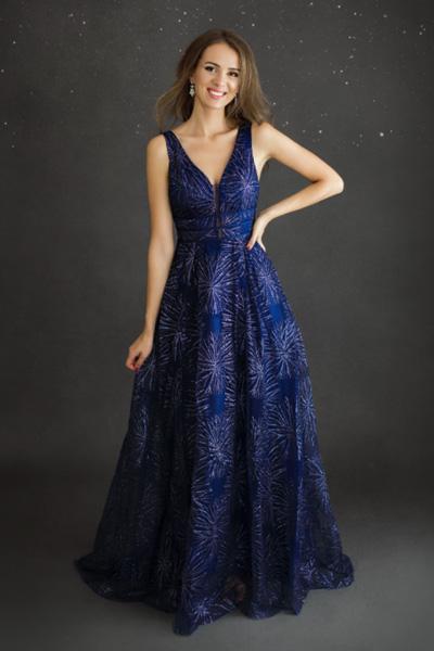 Modré spoločenské šaty Lise