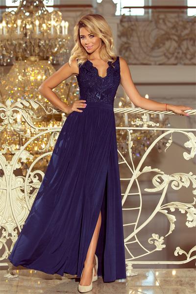 Modré dlhé spoločenské šaty Lea