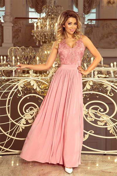 Ružové dlhé spoločenské šaty Lea