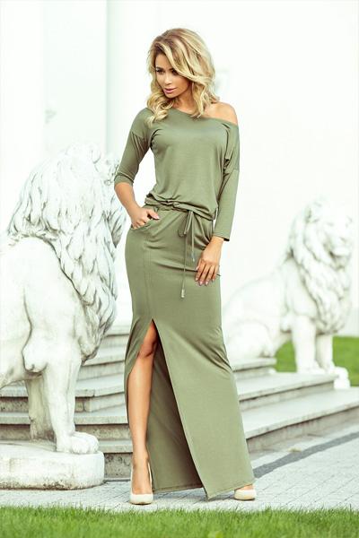 Dlhé šaty Stella olivová
