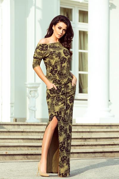 Dlhé šaty Leaves khaki