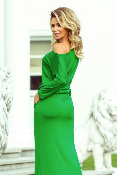 1694cd2f0 Dlhé šaty Stella zelená s viazaním v páse a vreckami - annie.sk