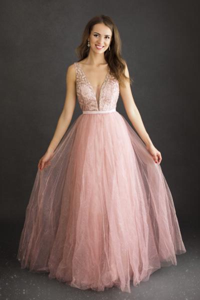 Ružové spoločenské šaty Elsa