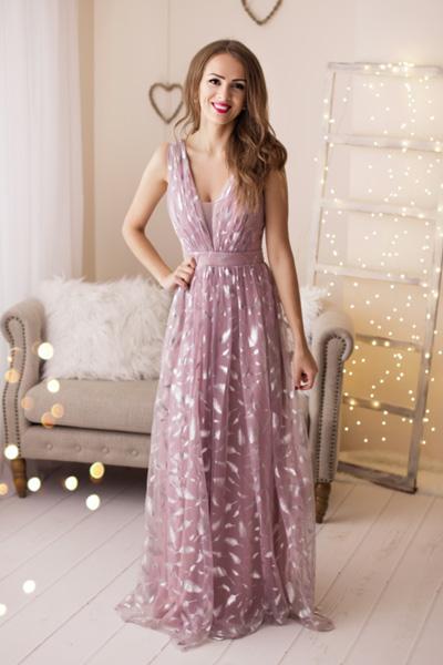 Ružové spoločenské šaty Faustine