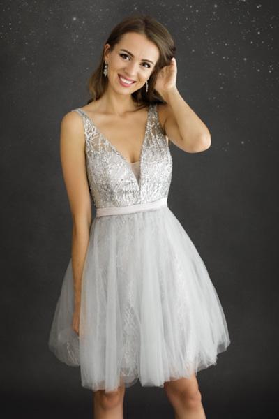 Strieborné spoločenské šaty Solene