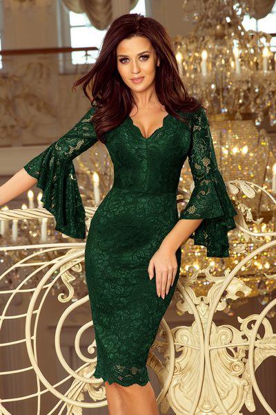 Tmavozelené spoločenské šaty Gracelyn