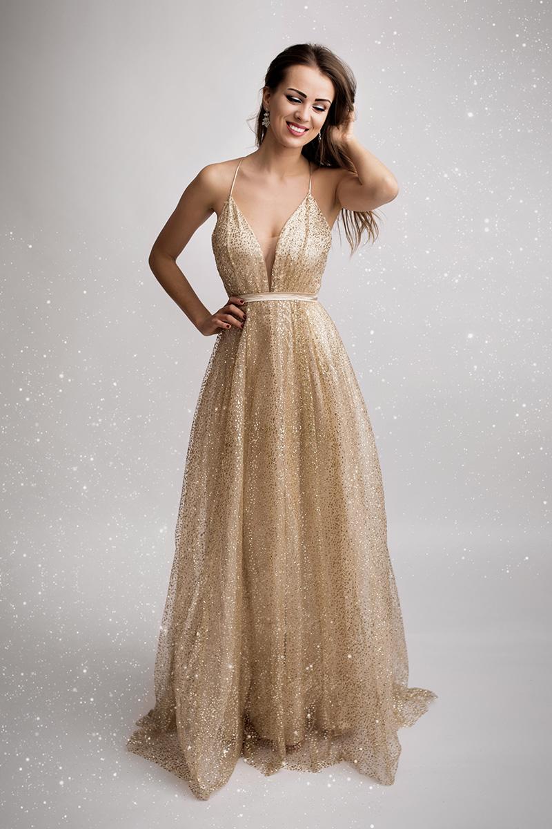 Zlaté spoločenské šaty Justine