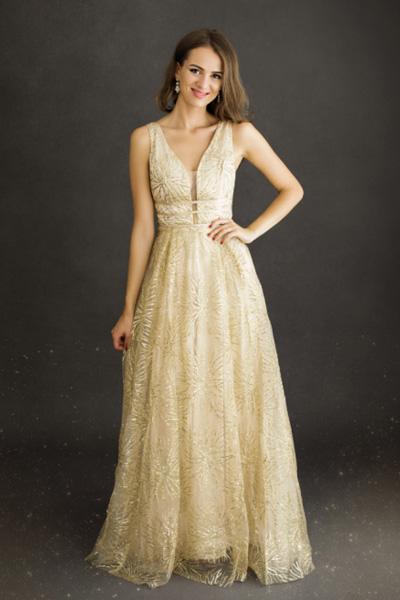 Zlaté spoločenské šaty Lise